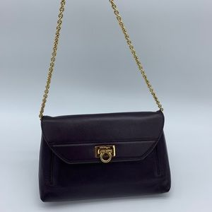 Salvatore Ferragamo purple leather clutch on chain